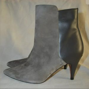 38 7.5 IRO Gray Leather Suede Ankle Boots Booties
